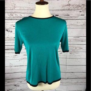 MISOOK Teal Black Colorblock Knit Shirt